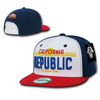 California Republic Cali License Plate Navy Blue Red White Snapback