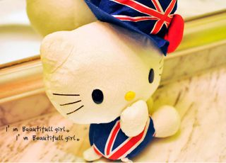 British Style Dress Blue Sit Hello Kitty Plush Doll Toy 14 New