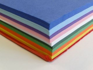 Tissue Paper 10 Assorted Colours 16cm x 16cm 1000 Square Sheets Craft