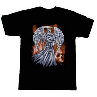 biker rebel short sleeve T shirt Grim Reaper death angel skull