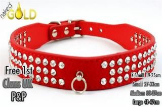 Pet Dog Genuine Leather Collars With Rhinestone And Heart Shaped