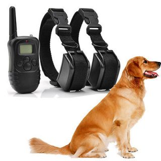 Rechargeable 2 Dog LCD Shock&Vibrate Remote Dog Training Collar US