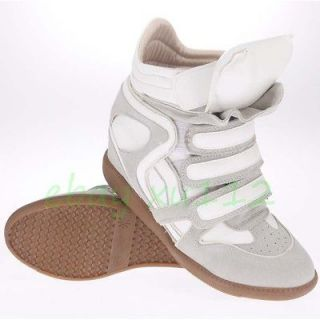 Women Fashion PU Leather High Top Sneakers Shoes Velcro Ankle Wedge