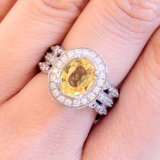 Authentic DORIS PANOS DIVA Yellow Sapphire Diamond Ring █18k