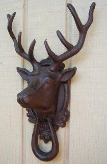cast iron rustic buck DEER HEAD antlers DOOR KNOCKER el