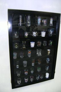 Newly listed oak 4 inch shot glass display case shelf plexi front