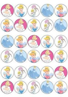 CINDERELLA MIXED IMAGES EDIBLE CUP CAKE TOPPERS PREMIUM RICE PAPER 222