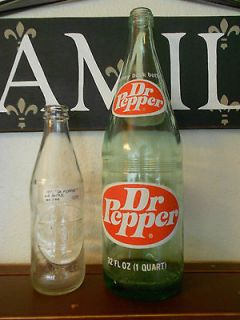 Vintage Dr. Pepper Glass Soda Bottles c. early 1970s