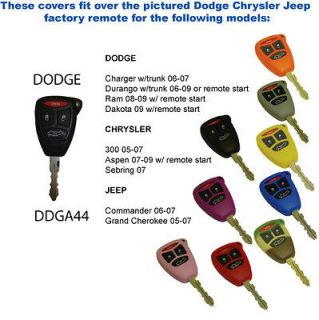 Dodge 4 buttons Key Fob Cover Jacket Silicon Protection Black Pink