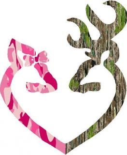 MOSSY OAK PINK CAMO DEER HEART DECAL 10X11