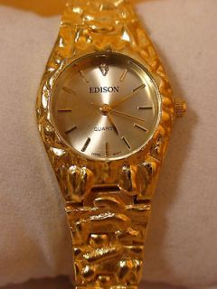 GOLD TONE NUGGET STYLE EDISON LADIES QUARTZ WATCH WORKS LARGE BAND