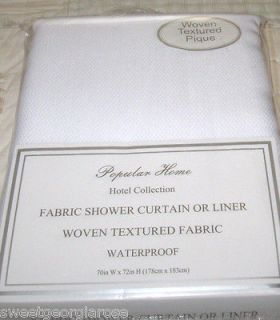 HOTEL COLLECTION Fabric Shower Curtain / Liner SOLID WHITE PIQUE