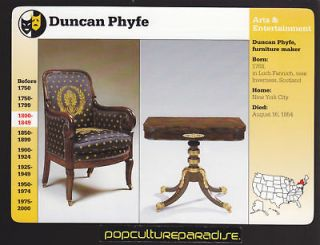 DUNCAN PHYFE American Furniture Maker 1997 GROLIER CARD