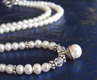 Pearl Necklace White Pearl Sterling Silver Pendant Drop June