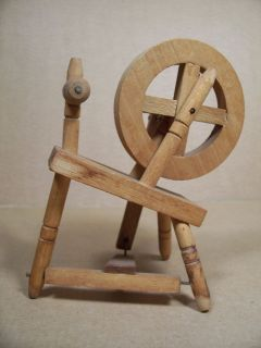 Vintage Miniature Wooden Spinning Wheel Figural   Doll House Spinning