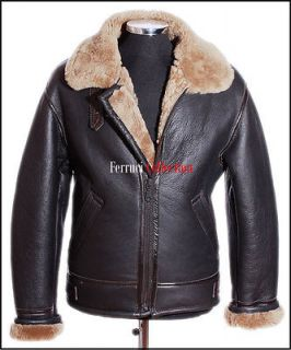 Mens Shearling B3 Brown Ginger Sheepskin RAF WW2 Bomber Leather