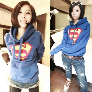 New Casual Trendy Women Superman Logo Pullover Hoodies Sweats