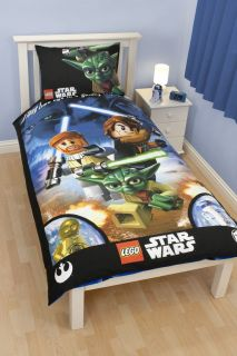 Lego Star Wars Galaxy Single Duvet Cover Bed Set Jedi Yoda C3PO R2D2