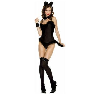 Black Animal Cat Womens Feather Ear Tail Body Suit S/M Size