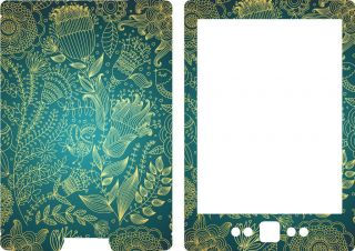 New Kindle 4 Ebook Skin Cover Vinyl Sticker Blue Gold Pattern 2011