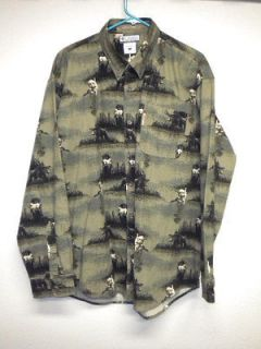 Columbia River Lodge Duck Hunting Shirt Lab Dog Brown Camo Colors