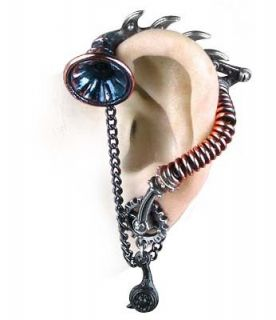HIS MASTERS VOICE Steampunk Ear Trumpet Stud OFFICIAL ALCHEMY GOTHIC