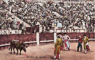 SPAIN   Corrida   El toro en agonia 1908