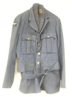 ORIGINAL RARE WW2 1945 RAF JACKET AND BELT WITH SIDE CAP , SIZE 14