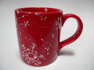 Life + Style Crimson Snowflake Coffee Mug Red White Christmas Holiday