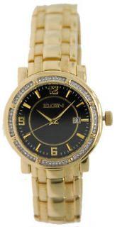 Elgin FG1998 Mens Gold Plated Crystals Bezel Watch