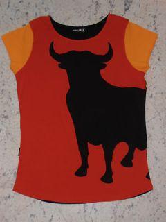 EL TORO (BULL) Junior/Womens Top. LARGE. Cotton, Cap Sleeve, Black