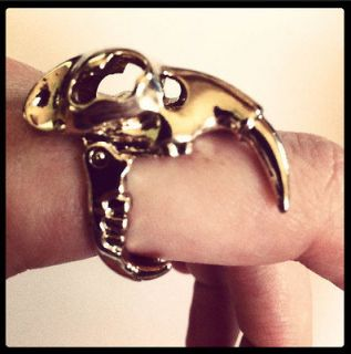 Saber Tooth Tiger Skull Gold Ring Hinged Jaw Boho Hipster Blogger Punk