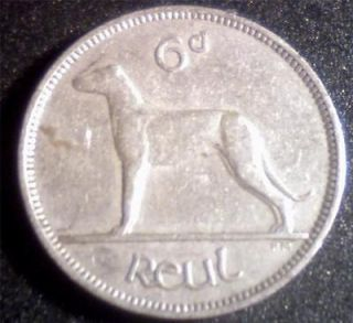 Ireland 1952 Sixpence 6d Wolfhound Irish Coin RARE DATE Only 800k made