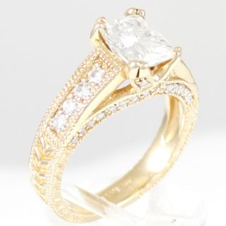 ESTATE Moissanite Ring with Diamond Accents 14K Yellow Gold 2 carat