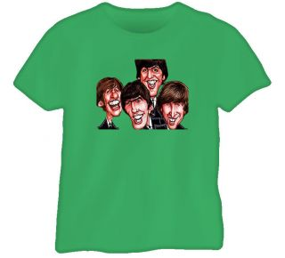 The Beatles John Paul Ringo George T Shirt Green