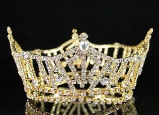 CLEAR AUSTRIAN RHINESTONE CRYSTAL TIARA PAGEANT BRIDAL T1297 GOLD