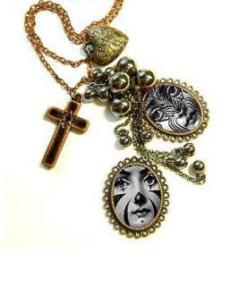 Art **Piero Fornasetti plate face Necklace