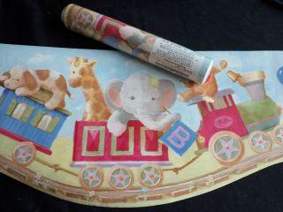 Fun Kids Nursery WALLPAPER BORDER LOT Animal Railroad Train 2 Rolls 28