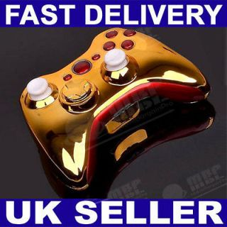 MODDED XBOX 360 RED & CHROME GOLD WIRELESS CONTROLLER SHELL CASE MOD