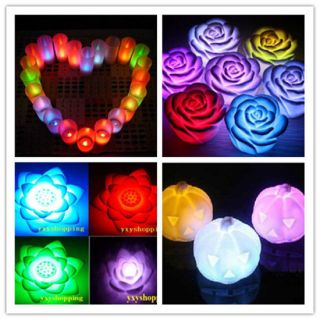 LED electric Colorful Change flmeless night light lamp flower Candle