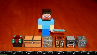 Minecraft Lego Steve Figurine~Diamond Sword~plus 6 blocks~super cool