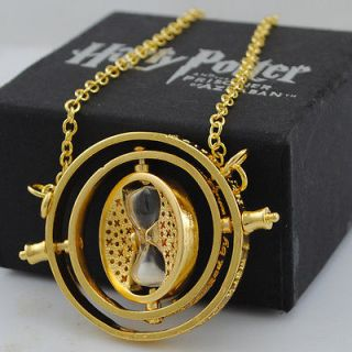 Hermione Granger Harry Potter Glass Time Turner 18k Yellow GP Necklace