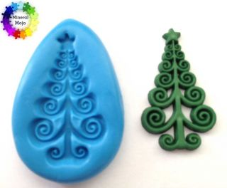Scroll Xmas Tree Christmas Silicone Mould Cupcake Card Topper, Fimo