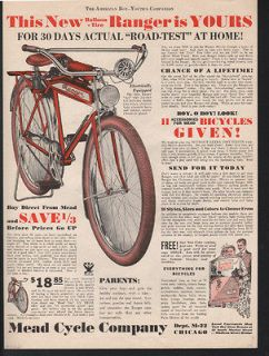 1934 MEAD RANGER BICYCLE HORN ELECTRIC BIKE ACE BOY PLAY CHICAGO