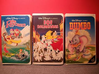 VHS Walt Disneys The Rescuers   101 Dalmatians   Dumbo