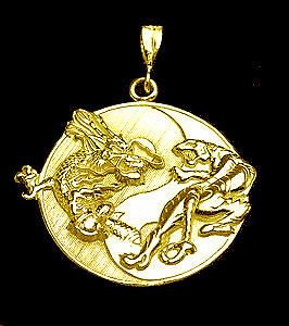 YIN YANG CHINESE DRAGON TIGER 24kt GOLD PLATED PENDANT CHARM Jewelry