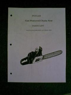 POULAN CHAIN SAW MODEL S6000 PARTS MANUAL
