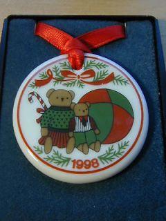 1998 Porsgrund Porcelain Teddy Bear Pendant ~ Necklace or Ornament
