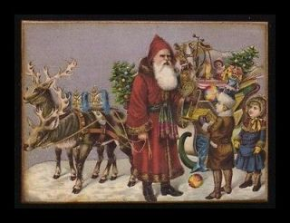 Wood Block~Christmas~Santa~Sleigh~Reindee~Vintage Style Postcard Print