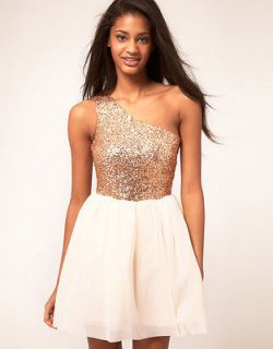 NWT ASOS Skater Dress with Sequin Top size 4 US Cream & Gold